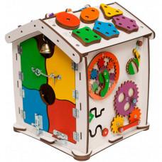 Деревянная игрушка Evotoys Бизиборд домик Знайка Семицветик Мини