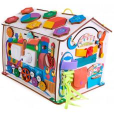 Деревянная игрушка Evotoys Бизиборд домик Знайка Смайлик макси со светом 35х29х29 см