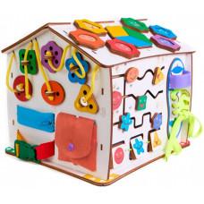Деревянная игрушка Evotoys Бизиборд домик Знайка Смайлик со светом 29х25х25 см