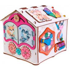 Деревянная игрушка Evotoys Бизиборд домик Знайка Тимка со светом 28х25х25 см
