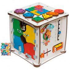 Деревянная игрушка Evotoys Бизиборд кубик Знайка Семицветик Макси