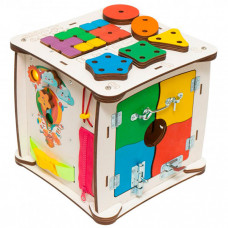 Деревянная игрушка Evotoys Бизиборд кубик Знайка Семицветик Миди