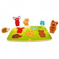Деревянная игрушка Hape Тактильная головоломка Лесные животные