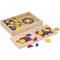 Деревянная игрушка Melissa & Doug Первые навыки Трафарет с блоками на досках 10029