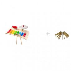 Деревянная игрушка Plan Toys Музыкальный набор и Трещотка веерная