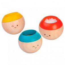 Деревянная игрушка Plan Toys Набор погремушек Сенсорные неваляшки 3 шт.