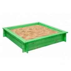 """Деревянная песочница """"Клио"""" (4 лавки, пропитка, подложка), цв. Зеленый"""