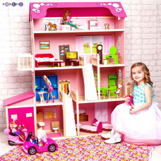 """Деревянный дом Барби """"Нежность"""" (28 предметов мебели, 2 лестницы, гараж)"""