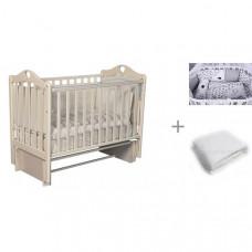 Детская кроватка Антел Каролина 3/5 универсальный маятник с комплектом AmaroBaby Good Night и одеялом Alis