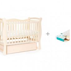 Детская кроватка Bebizaro Jameson универсальный маятник с ящиком и Матрас Плитекс EcoLife
