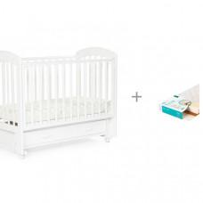 Детская кроватка Bebizaro Regency маятник универсальный с ящиком и Матрас Плитекс EcoLife