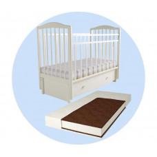 Детская кроватка Forest Malva маятник продольный (без ящика) с матрасом