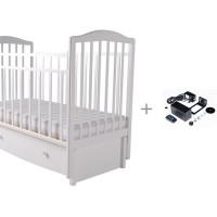 Детская кроватка Forest Malva маятник продольный (с ящиком) и укачиватель Паинька