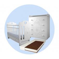 Детская кроватка Forest Принцесса маятник поперечный с комодом и матрасом