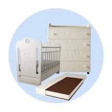 Детская кроватка Forest Space маятник поперечный с комодом и матрасом