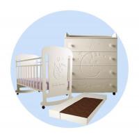 Детская кроватка Forest Sweet Dreams (качалка) с комодом и матрасом