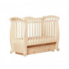 Детская кроватка Кубаньлесстрой БИ 555.2 Магнолия Декор №019 поперечный маятник