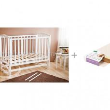 Детская кроватка Можга (Красная Звезда) Кристина С-619 маятник продольный с матрасом Плитекс Кокосовый+латекс Комфорт-Элит