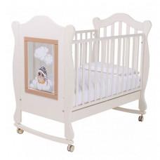 Детская кроватка Papaloni качалка Finestra 120х60 с декором