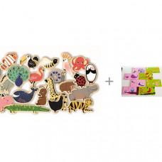 Djeco Развивающая магнитная игра Зоопарк с пазлом-парой Мама и малыш