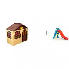 Doloni Домик детский прямоугольный с карнизами и шторками и горка Dolu большая с подключением воды