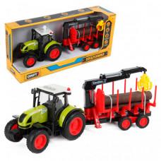 Drift Трактор-погрузчик с прицепом для бревен Farmland 1:16