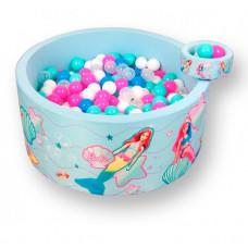 Hotenok Сухой игровой бассейн Barbie Русалки и Лазурный берег 40 см с комплектом шаров 200 шт.