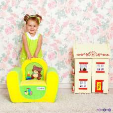"""Игровое детское кресло """"Медвежонок"""", цв. Желтый+Салатовый"""