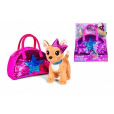 Интерактивная игрушка Chi-Chi Love Плюшевая собачка Блестящая мода с сумочкой, 20 см