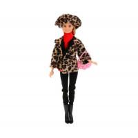Карапуз Кукла София в леопардовом пальто и шапке 29 см