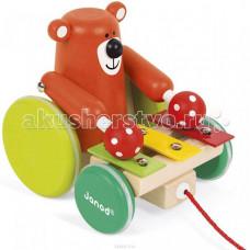 Каталка-игрушка Janod на веревочке Медвежонок-музыкант