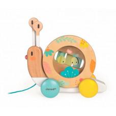 Каталка-игрушка Janod на веревочке Улитка с ксилофоном и барабаном