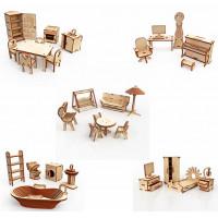 ХэппиДом Большой набор Кукольной мебели из дерева Premium