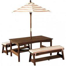 KidKraft Стол с двумя скамейками и зонтом 107х58х49 см