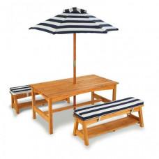 KidKraft Стол с двумя скамейками и зонтом 91х49х52 см