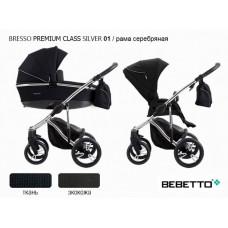 Коляска Bebetto Bresso Premium Class Silver (экокожа+ткань) 2 в 1