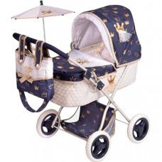 Коляска для куклы DeCuevas с сумкой и зонтиком Классик Голд 60 см