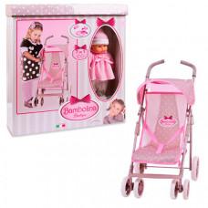 Коляска для куклы Dimian прогулочная с куклой и набором аксессуаров