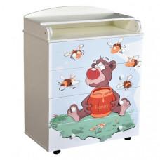 Комод Кедр с пеленальной доской Fantasia Little bee с шариковыми направляющими