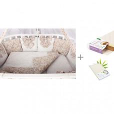 Комплект в кроватку AmaroBaby Premium Элит (18 предметов) и матрас Плитекс Кокосовый+латекс Комфорт-Элит 119x60х10 с наматрасником Плитекс Bamboo Waterproof Comfort