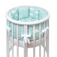 Комплект в кроватку Fluffymoon Fresh Breeze в круглую бортики-подушки (5 предметов)