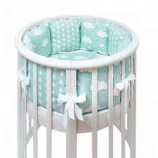 Комплект в кроватку Fluffymoon Fresh Breeze в круглую бортики-подушки (7 предметов)