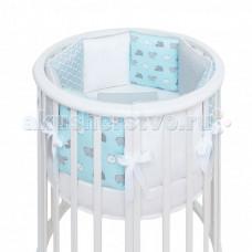 Комплект в кроватку Fluffymoon Happy Sheep Blue бортики-подушки (5 предметов)