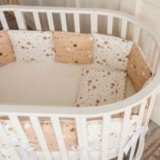 Комплект в кроватку Fluffymoon Stars для круглой и овальной (5 предметов)