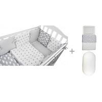 Комплект в кроватку Forest для овальной кроватки Sky (18 предметов) с постельным бельем и наматрасником