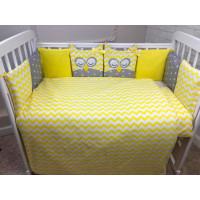 Комплект в кроватку LuBaby Спящие совята 39253 (6 предметов)