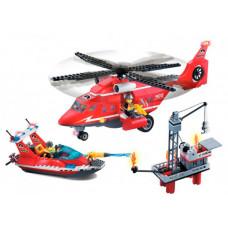 Конструктор Enlighten Brick Пожарная служба с катером и вертолётом (404 детали)