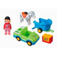 Конструктор Playmobil 1.2.3. Автомобиль с коневозкой