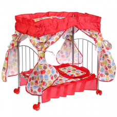 Кроватка для куклы Карапуз с балдахином, подушкой, матрасом и одеялом