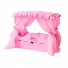 Кроватка для куклы Paremo с выдвижным ящиком с постельным бельем и балдахином